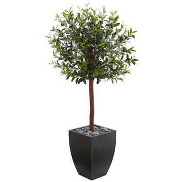 Artificial Silk Tree -4.5 Ft Olive Topiary Tree In Black Washed Planters