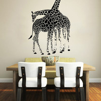 Wall Decals Giraffe Animals Jungle Safari African Childrens Decor Kids Vinyl Sticker Wall Decal Nursery Bedroom Murals Playroom Art SV6054