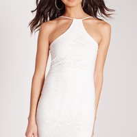 Missguided - Racer Neck Laser Cut Bodycon Dress White