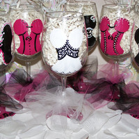 Hand Painted Wine Glass Bachelorette Party Assorted Lingerie Set of 6 Perfect Bridesmaid Gift or Bachelorette Party Favors