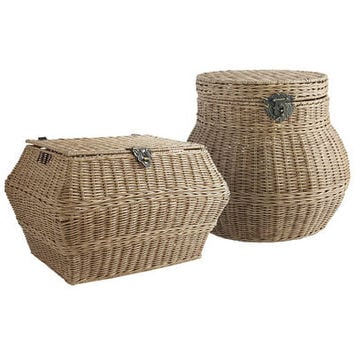 Collin Light Brown Wicker Storage Baskets