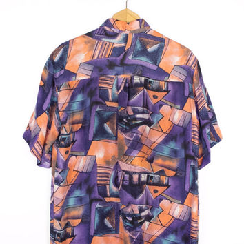 80s mens silk shirt / vintage 1980s / wild colorful abstract art print pattern / pastel / purple / M - L