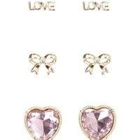 Heart & Love Stud Earrings - 3 Pack by Charlotte Russe - Pale Peach