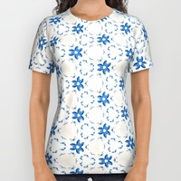 Acrylic Blue Floral Triangles All Over Print Shirt by Doucette Designs