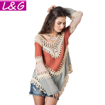 Boho Multicolor V-Neck White Lace Crochet Women Blouses Plus Size Summer Beach Kimono