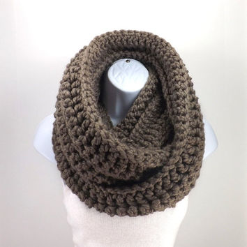 SALE Chunky Large Infinity Scarf /TAUPE/, Woolen Unisex Chunky Scarf Cowl Neck Warmer, Men Woman Chunky Scarf, Gift Idea