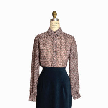 Vintage 60s Sheer Floral Blouse in Mauve / Long Sleeve Blouse - women's small/medium