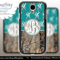 Monogram Galaxy S4 case S5 Browning Turquoise Real Tree Camo Deer Personalized RealTree Samsung Galaxy S3 Case Note 2 3 Cover