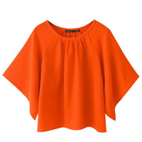 Orange Flare Sleeve Round Neckline Blouse