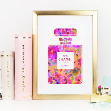 COCO CHANEL PERFUME,Girlfriend Gift,Gift For Wife,Chanel Watercolor Artwork,Coco Chanel Art,perfume bottle no5,Giclee Print,Teen Girls Art