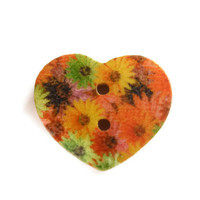 10 piece painted wood heart buttons multi color daisy flower print 15mm