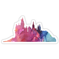 Hogwarts Castle Colourful Silhouette by pottergod