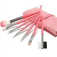Professinal 7 Pcs Pink Womens Makeup Brush Set Cosmetic Brushes Face Eye Shadow lip eyebrow brush(color random) = 1669357636