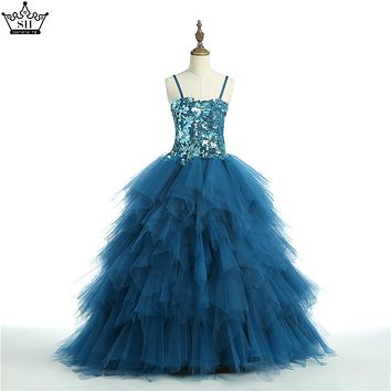 Spaghetti Straps Sequins Tiered Ball Gown Flower Girl Dresses 2017 Real Picture Kids Wedding Party Dresses First Communion Dress