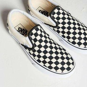 Vans Black White Plaid Women Men Old School Shoes