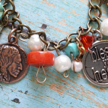 Bless Your Heart Assemblage Bracelet / Mixed Metal Bracelet / Glass Pearl Bracelet / Turquoise Bracelet / Western Jewelry / Bless Your Heart