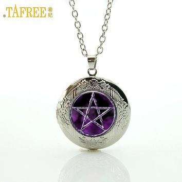 TAFREE Brand Best selling purple Pentagram Wicca Pendant Necklace Japan Occult jewelry Glass Cabochon locket necklace women N695