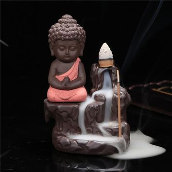 Buddha ceramic incense holder set with joss sticks