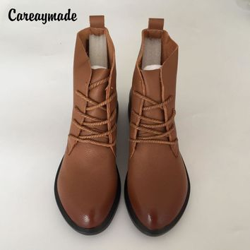 "Careaymade-Head layer cowhide pure handmade ankle half short boots ,""Sen female"" casual Martin women's Boots,Real  Leather shoes"