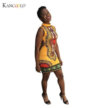 Fashion Dashikis Cotton 2016 Summer Print African Fashion Custom Africa Clothing Dress for Women Dress Vestidos  Se12GBY