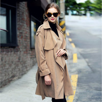 Casual Big Turn-down Collar Loose Mid-length  Belt Coat