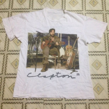vintage 90s eric clapton cover album unplugged t shirt / vocalis / song writter / guiter solo
