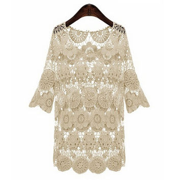 Sheer Lace Crochet Cover-Up