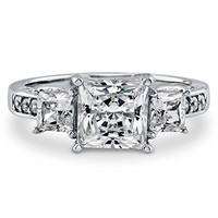 BERRICLE Sterling Silver 2.64 ct.tw Princess Cubic Zirconia CZ 3 Stone Engagement Wedding Ring