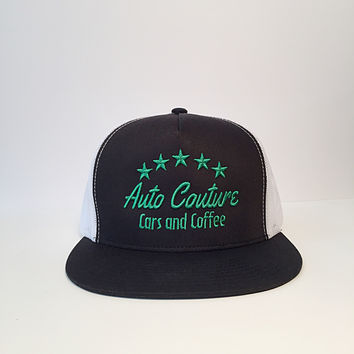 Auto Couture cars and coffee snapback trucker hats white