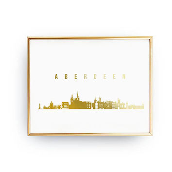 Aberdeen Print, Aberdeen Skyline,Aberdeen Cityscape, Skyline Art,Real Gold Foil Print, Home Decor, UK Print,Scotland Skyline, Gold Cityscape