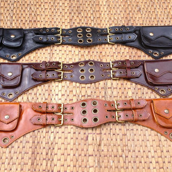 Leather Utility Belt / Festival Belt Bag / iphone Pocket & Pouches - The Jedi