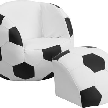 Kids Soccer Chair and Footstool