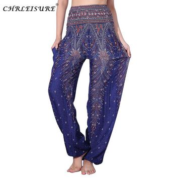CHRLEISURE Women Summer Beach Harem Pants Bohemian Plus Size Pants High Waist  Printed Trousers Women Plus Size Pant