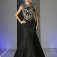 Designer Black Gold Trumpet Mermaid Beaded long prom dress Evening Gown 4 - 16