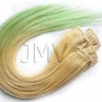 "Tape Hair 18"" Minty Tip 100% human hair Ombre extensions Blonde Pastel Green Dip Dye"