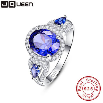 Wedding Brand Sapphire Ring 925 Solid Sterling Silver Fashion Jewelry new 2016 Unique Design For Women luxury brand With Box