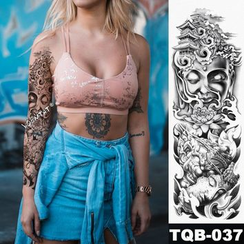 New 1 Piece Temporary Tattoo Sticker Buddha Zen meditation style Tattoo with Arm Body Art Big Sleeve Large Fake Tattoo Sticker
