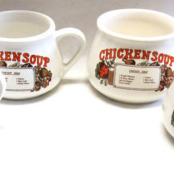 Vintage Soup Cups Large Handled Recipe Bowl Chicken Soup Set of Four