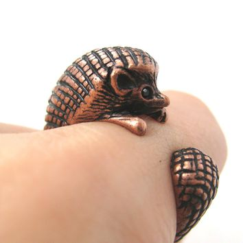 Hedgehog Porcupine Animal Wrap Around Ring in Copper | Sizes 4 to 9 Available