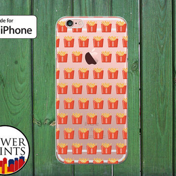 French Fries Pattern Funny Food Pattern Fry Tumblr Clear Rubber Phone Case for iPhone 5/5s and 5c and iPhone 6 and 6 Plus + and iPhone 6s