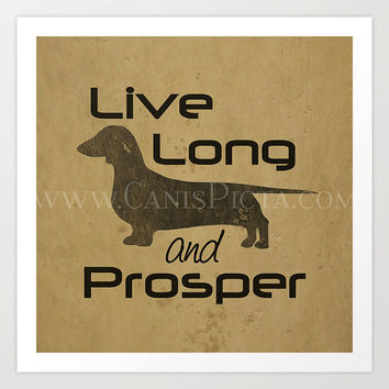 Star Trek Dachshund 8X10 Pop Art Long and Prosper Dog Wall Home Decor Tan Beige Smooth Short Coat Doxie Dog Trekkie Spock Geek Distressed