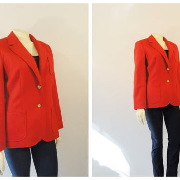 Vintage Blazer Personal Red Wool Blazer Gold Buttons Size 8 Modern Small to Medium