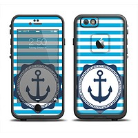 The Vector Navy Anchor with Blue Stripes Apple iPhone 6 LifeProof Fre Case Skin Set