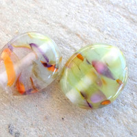 Lampwork Beads, Pastel Handmade Glass Beads, Pair of Lentil Pressed Glass Beads, Handmade Glass jewelry Supplies for Glass Lampwork Jewelry