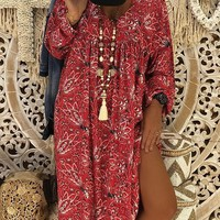 New Red Floral Print Long Sleeve V-neck Casual Bohemian Maxi Dress