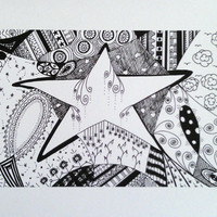 Star zentangle art print by TheHeartsMuse on Etsy