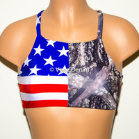American Flag & Camo High Neck Halter Bikini Top, Criss Cross Adjustable Swimwear Bikini Top, 4Th Of July Bathing Suit, Festival Spandex Top