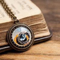 Tiny astronomical steampunk pendant, brass pendant, glass pendant, Prague clock pendant, brass necklace, glass necklace, steampunk necklace