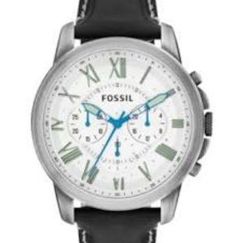 Fossil Grant Chronograph White Dial Black Leather Mens Watch FS4921