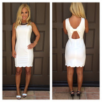 Fairest Of Them All Scallop Bow Dress - WHITE